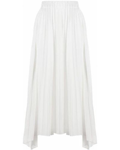 Асимметричная белая юбка миди со складками Antonelli