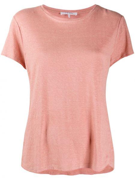 Розовая футболка с вырезом с короткими рукавами Frame