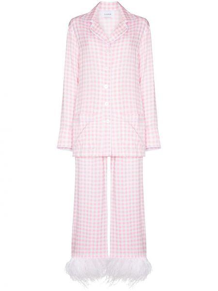 Розовая пижама на пуговицах с перьями Sleeper