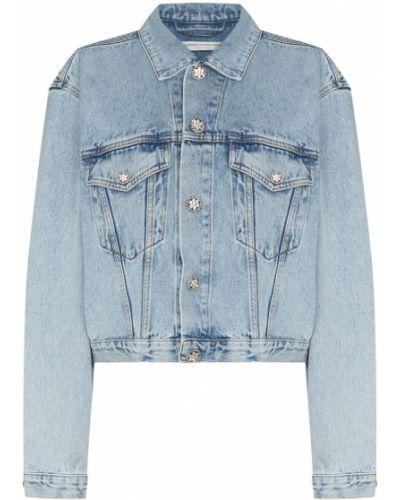 Хлопковая синяя джинсовая куртка на пуговицах Alessandra Rich