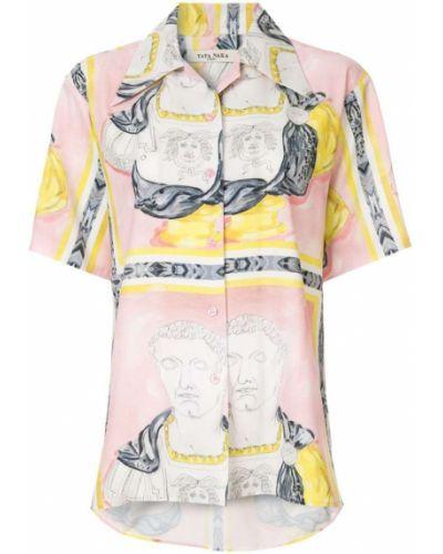 Свободная рубашка с коротким рукавом на пуговицах с лебяжьим пухом Tata Naka