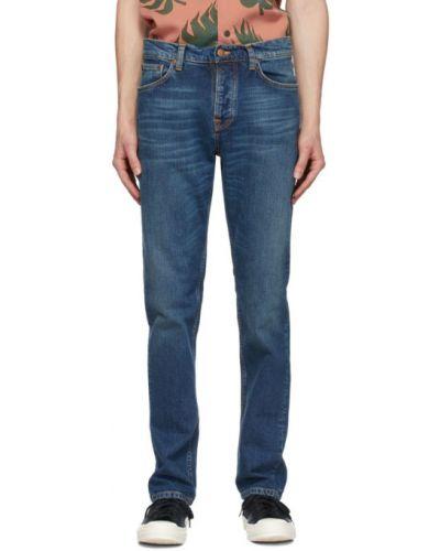 Синие джинсы классические стрейч с заплатками Nudie Jeans