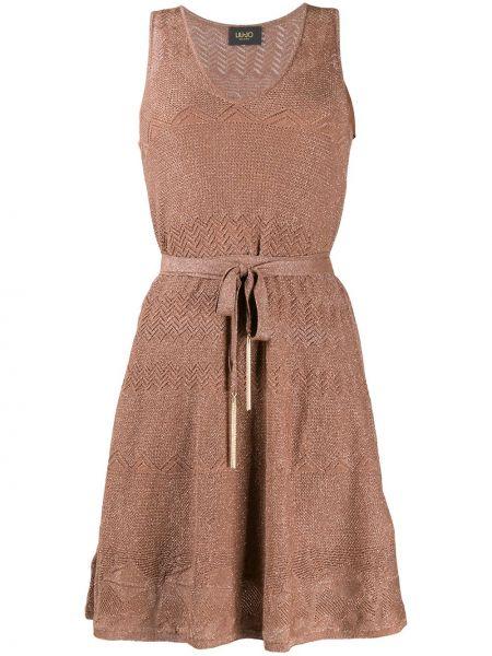 Коричневое вязаное платье мини без рукавов Liu Jo
