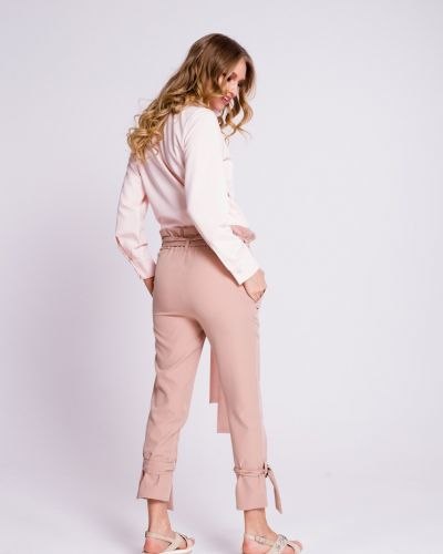 Розовые прямые брюки на резинке Naoko