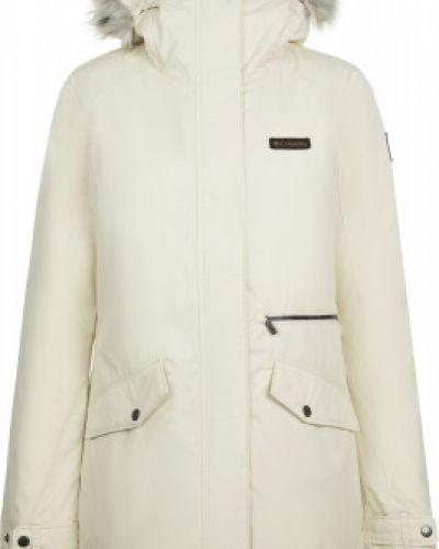 Бежевая приталенная теплая куртка с капюшоном на молнии Columbia