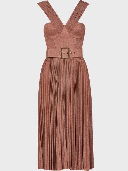 Платье с поясом - розовое Elisabetta Franchi