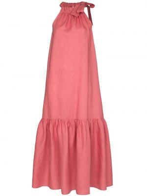 Розовое платье миди с оборками без рукавов Asceno