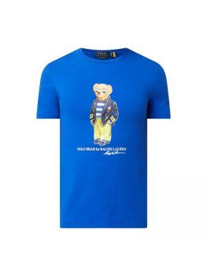 Niebieski t-shirt bawełniany z printem Polo Ralph Lauren