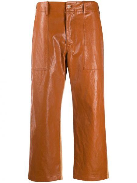 Хлопковые оранжевые укороченные брюки на молнии Jejia