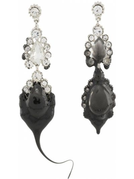 Черные серьги металлические с подвесками с бабочкой Ottolinger