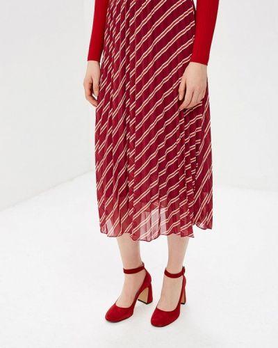 Плиссированная юбка красный бордовый Ichi