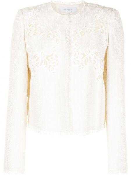 Хлопковый белый удлиненный пиджак с вышивкой Giambattista Valli
