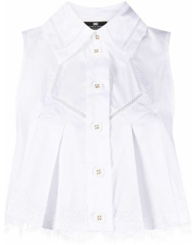 Хлопковая белая рубашка на пуговицах Elisabetta Franchi