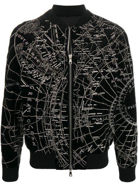 Czarna długa kurtka z haftem bawełniana Balmain