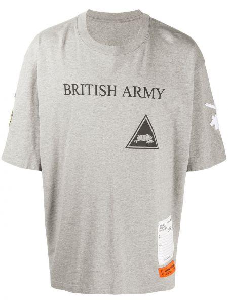 Bawełna prosto koszula krótkie z krótkim rękawem z łatami niejednolita całość Heron Preston