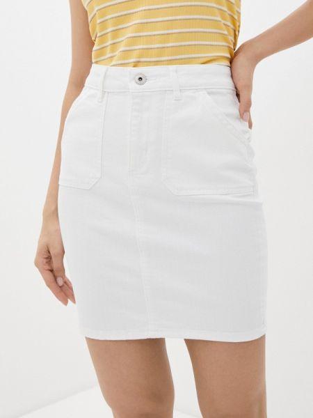 Джинсовая юбка белая весенняя Ichi