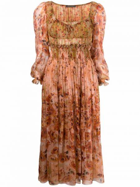 Платье миди с длинными рукавами - оранжевое Alberta Ferretti