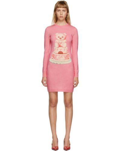 Шерстяное розовое платье макси с длинными рукавами Moschino