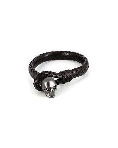 Коричневый кожаный браслет Alexander Mcqueen