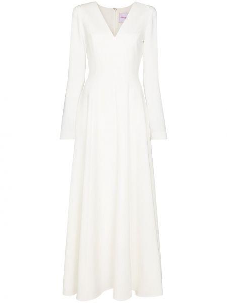 Белое платье макси с длинными рукавами Carolina Herrera