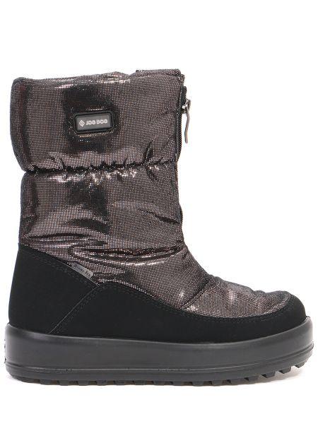Комбинированные текстильные черные сапоги на молнии Jog Dog