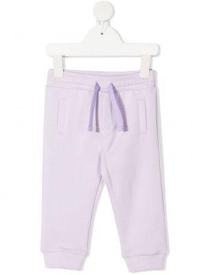 Фиолетовые хлопковые брюки с карманами Dolce & Gabbana Kids