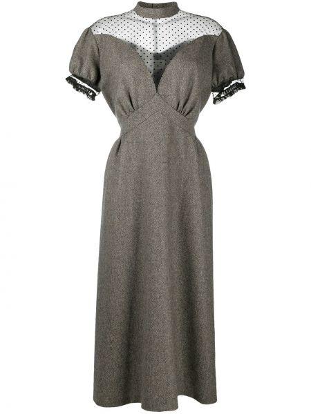 Платье миди в горошек - коричневое Maison Margiela