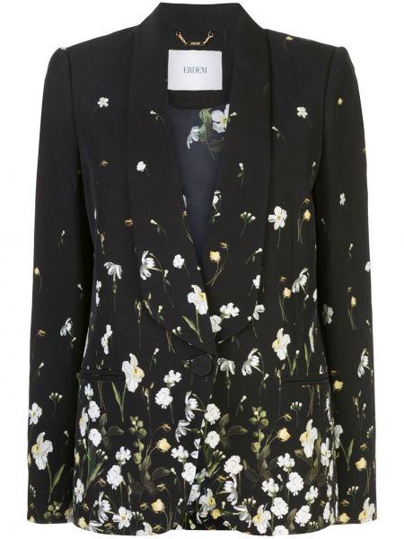 Шелковый черный пиджак с карманами Erdem