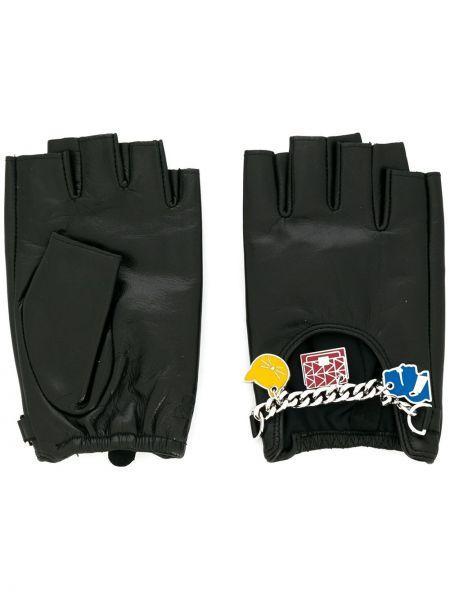 Skórzany rękawiczki bez palców elastyczny Karl Lagerfeld
