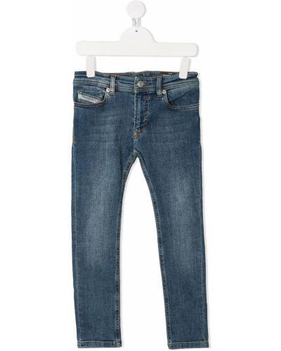 Хлопковые синие джинсы-скинни на молнии Diesel Kids