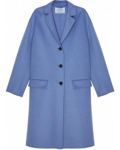 Пальто однобортное с отложным воротником Prada