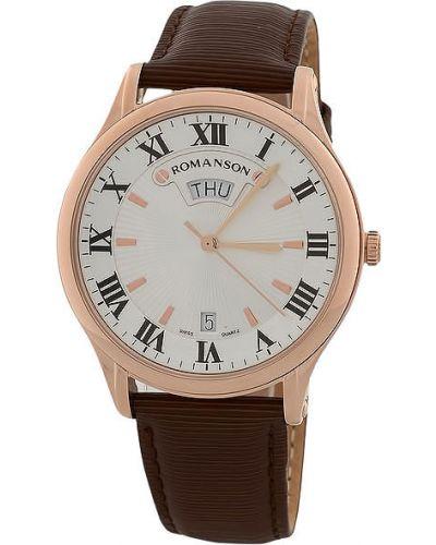 Часы водонепроницаемые с кожаным ремешком круглые Romanson