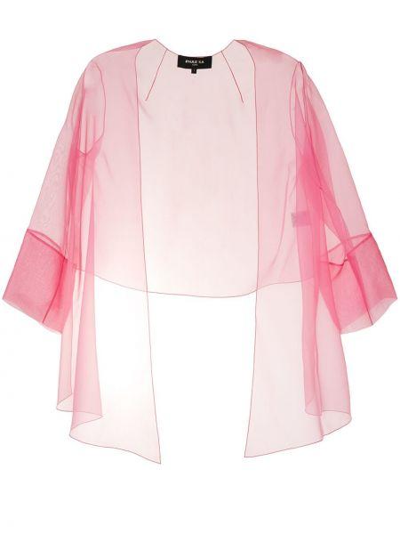 Асимметричный с рукавами шелковый розовый удлиненный пиджак Paule Ka