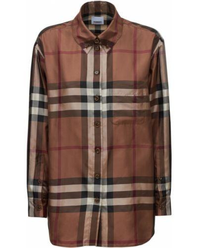 Коричневая рубашка с принтом Burberry
