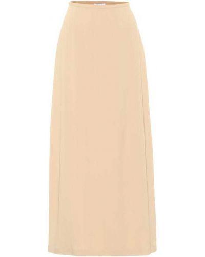 Шелковая бежевая юбки-пачки юбка на высоких Loro Piana