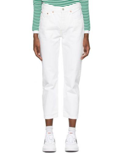 Прямые белые укороченные джинсы стрейч Levi's®