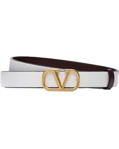 Белый ремень двусторонний металлический с пряжкой Valentino Garavani