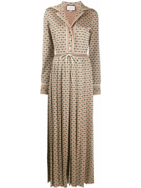 Коричневое платье макси с длинными рукавами с воротником металлическое Gucci