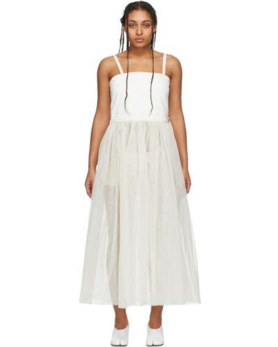 Белое платье макси без рукавов из фатина Mm6 Maison Margiela