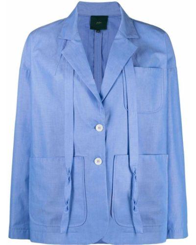 Синий удлиненный пиджак с накладными карманами с воротником Jejia
