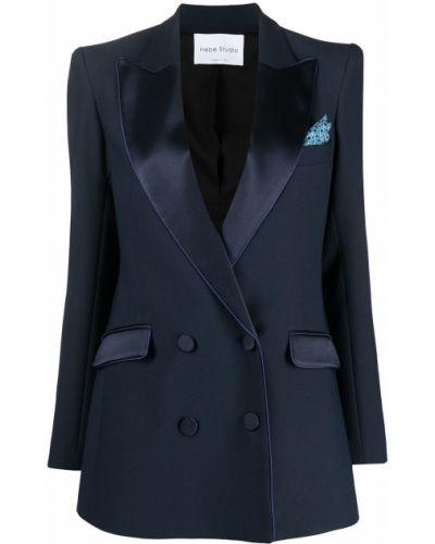 Синий удлиненный пиджак двубортный с карманами Hebe Studio