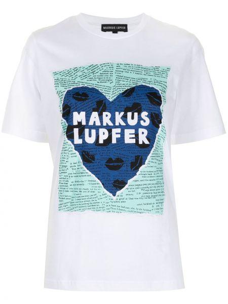 Хлопковая белая футболка с вырезом Markus Lupfer