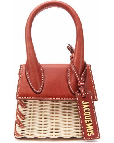 Соломенная кожаная красная сумка на плечо Jacquemus