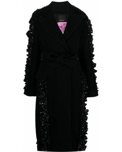 Czarny długi płaszcz wełniany z długimi rękawami Pinko