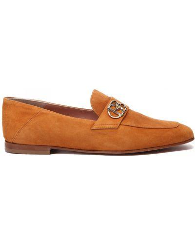 Коричневые кожаные туфли квадратные Baldinini