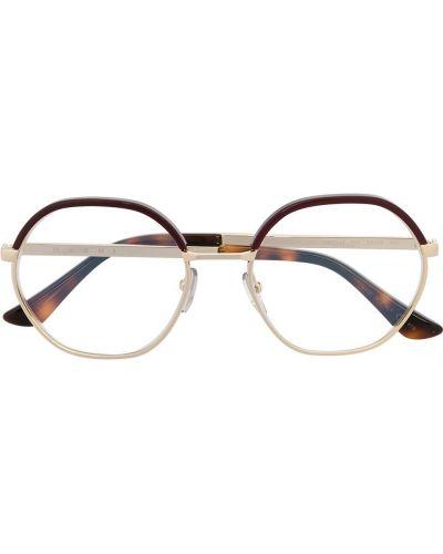 Желтые очки круглые металлические прозрачные Marni Eyewear