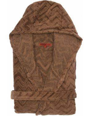 Brązowy szlafrok bawełniany z kapturem Missoni
