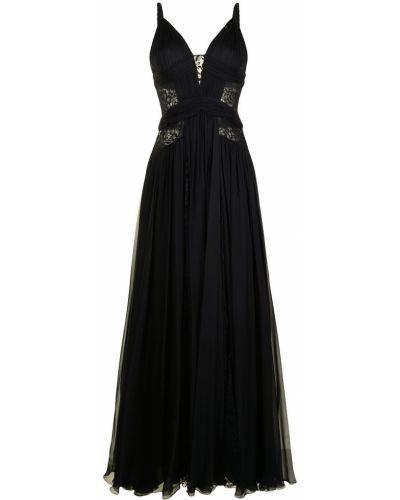 Кружевное черное вечернее платье без рукавов Zuhair Murad