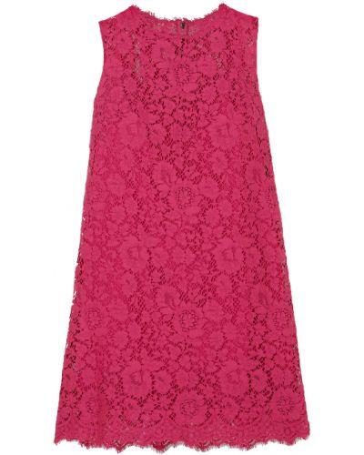 Хлопковое розовое кружевное платье мини Dolce & Gabbana