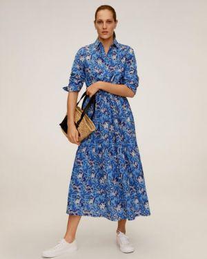 Платье с поясом на пуговицах с цветочным принтом Mango